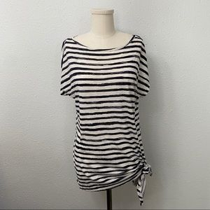 Michael Kors Striped Relaxed Fit Tie Hem Top